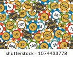 different colorful casino chips.... | Shutterstock .eps vector #1074433778