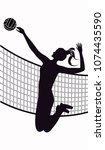 volleyball player  jumping girl ...   Shutterstock .eps vector #1074435590