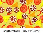 seamless pattern of the pizza... | Shutterstock .eps vector #1074440390