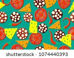 seamless pattern of the pizza... | Shutterstock .eps vector #1074440393
