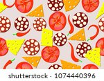 seamless pattern of the pizza... | Shutterstock .eps vector #1074440396