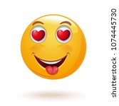 emoticon face with hearts in... | Shutterstock .eps vector #1074445730