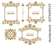 vintage vector set. floral... | Shutterstock .eps vector #1074449219