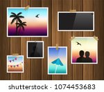 photo frames attached with... | Shutterstock .eps vector #1074453683