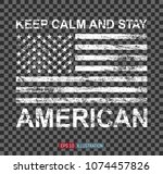 grunge american flag on... | Shutterstock .eps vector #1074457826
