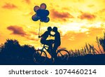 silhouette of two beautiful... | Shutterstock . vector #1074460214