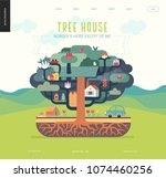 tree house concept   a tree... | Shutterstock .eps vector #1074460256