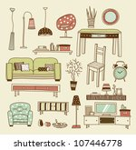 set of vector icons for living... | Shutterstock .eps vector #107446778