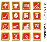 hockey icons set vector red... | Shutterstock .eps vector #1074477110