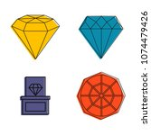 diamond icon set. color outline ... | Shutterstock .eps vector #1074479426