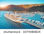 cruise ship at harbor. aerial... | Shutterstock . vector #1074480824