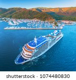 cruise ship at harbor. aerial... | Shutterstock . vector #1074480830