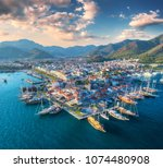 aerial view of boats and yachts ... | Shutterstock . vector #1074480908