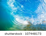 blue ocean wave  view inside... | Shutterstock . vector #107448173