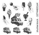vintage monochrome ice cream... | Shutterstock .eps vector #1074483164