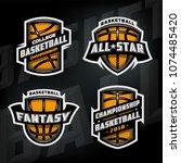 set of basketball sports logos... | Shutterstock .eps vector #1074485420