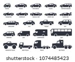 car type icons set. vector... | Shutterstock .eps vector #1074485423