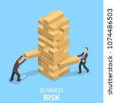business risks flat isometric...   Shutterstock .eps vector #1074486503