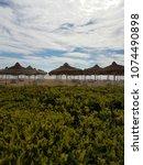 umbrellas at the beach in sharm ...   Shutterstock . vector #1074490898