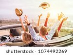 happy people having fun in... | Shutterstock . vector #1074492269