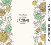 background with baobab  baobab... | Shutterstock .eps vector #1074493760
