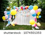 decoration with balloons for a... | Shutterstock . vector #1074501353