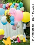 birthday party and many balloons | Shutterstock . vector #1074501386
