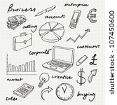 doodle business icons and words | Shutterstock .eps vector #107450600