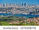 panoramic view of istanbul with ... | Shutterstock . vector #1074508178