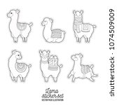funny lama adult illustration.... | Shutterstock .eps vector #1074509009