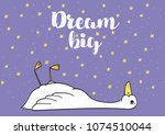 premade postcard with duck ... | Shutterstock .eps vector #1074510044