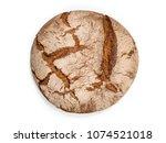 round freshly baked rustic rye...   Shutterstock . vector #1074521018