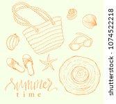 summer beach vacation hand...   Shutterstock .eps vector #1074522218