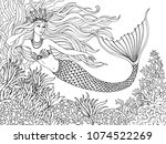 mermaid swiming undersea  hand... | Shutterstock .eps vector #1074522269