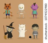 various characters for happy... | Shutterstock .eps vector #1074522980