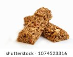 Stock photo strawberry granola bars isolated on white background healthy sweet dessert snack cereal granola 1074523316