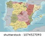 detailed spain political map. | Shutterstock .eps vector #1074527093