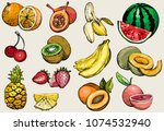 hand drawn healthy food  exotic ... | Shutterstock .eps vector #1074532940