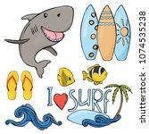 summer set on the theme of...   Shutterstock .eps vector #1074535238