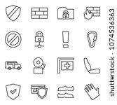 flat vector icon set   shield... | Shutterstock .eps vector #1074536363