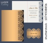 paper greeting card with lace... | Shutterstock .eps vector #1074538856