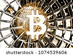 bitcoin on abstract background... | Shutterstock . vector #1074539606