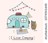 i love camping concept with... | Shutterstock .eps vector #1074541640