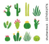 vector set of bright cacti ... | Shutterstock .eps vector #1074541976