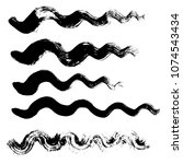 black wave brush strokes vector ... | Shutterstock .eps vector #1074543434