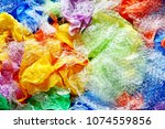 a lot of colorful disposable... | Shutterstock . vector #1074559856