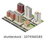 isometric cityscape building... | Shutterstock .eps vector #1074560183