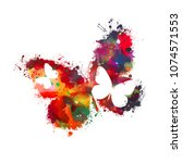 colored watercolor abstract... | Shutterstock .eps vector #1074571553