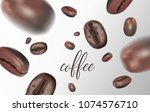 vividly flying coffee beans on...   Shutterstock .eps vector #1074576710