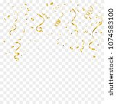 golden tiny confetti and... | Shutterstock .eps vector #1074583100
